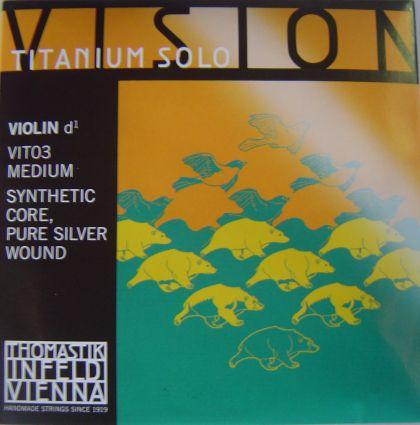 Thomastik Vision Titanium Solo synthetic core - единична струна D за цигулка - сребърна намотка