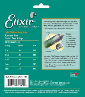 Elixir Stainless steel 4-струнен комплект с NANOWEB покритие - размер: 050 - 105