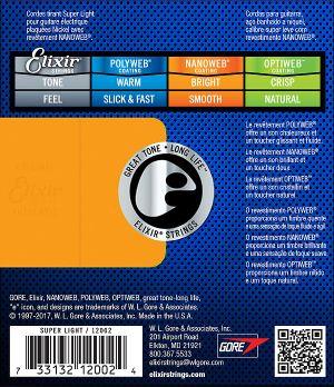 Elixir струни за електрическа китара с Original Nanoweb ultra thin coating 009-042