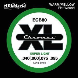 D'Addario ECB80 XL Chromes Flat Wound Bass Strings 040 - 095