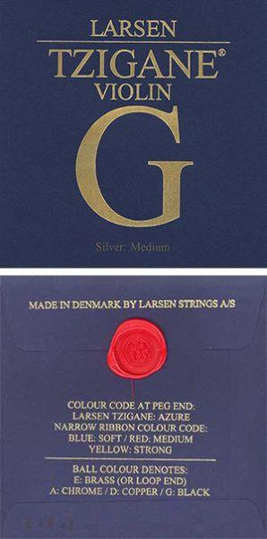 Larsen Tzigane G silver medium единична струна за цигулка